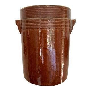 Antique French Glazed Stoneware Confit Lidded Crock Pot For Sale