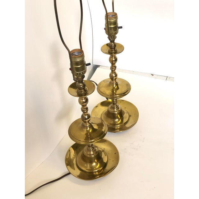 Vintage Georgian Brass Candlestick Lamps - a Pair For Sale In Atlanta - Image 6 of 8