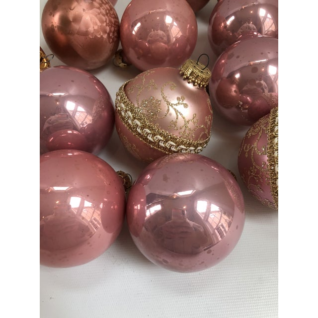 contemporary vintage blush pink glass christmas ornaments set of 17 for sale image 3