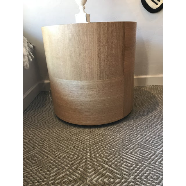 Custom Round Wood Drum Table - Image 2 of 6
