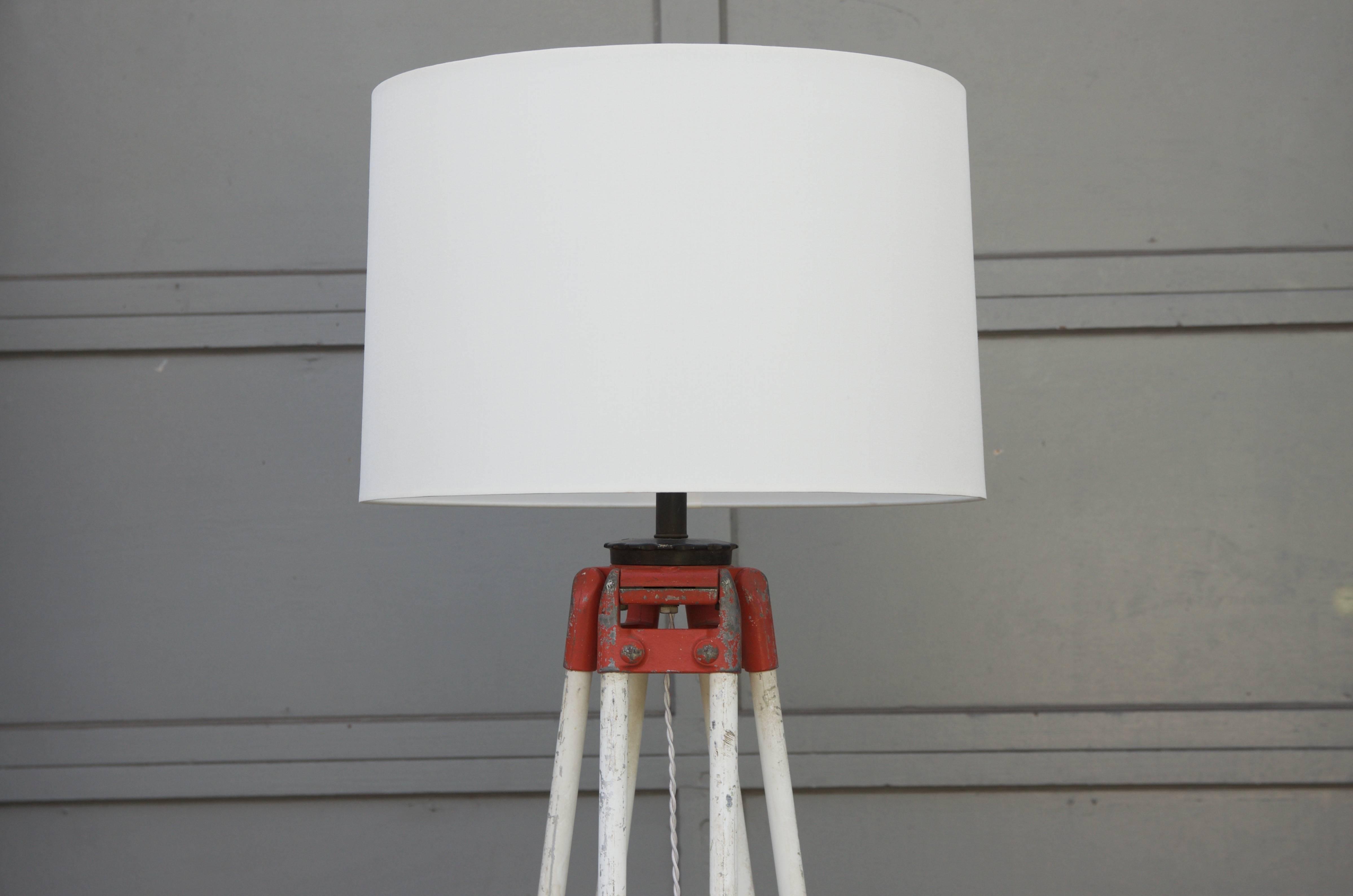 High End 1940s Tall Industrial Surveyor Tripod Floor Lamp Decaso