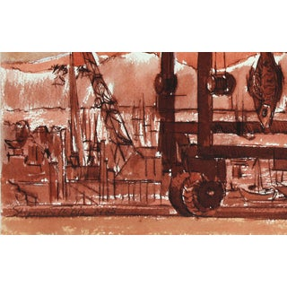 """Seymour Tubis Entitled """"Fish Pier Monterey"""" 1980's Ink on Paper Preview"""
