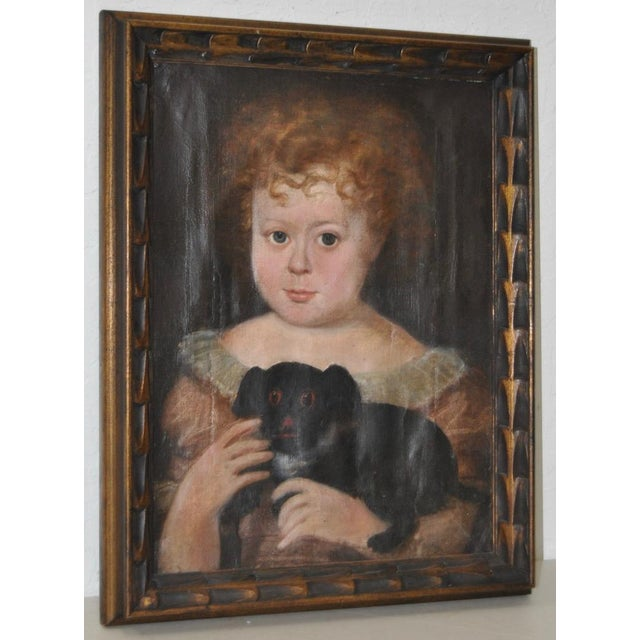 """Charming 19th Century """"Girl With Dog"""" Oil Painting For Sale - Image 9 of 9"""