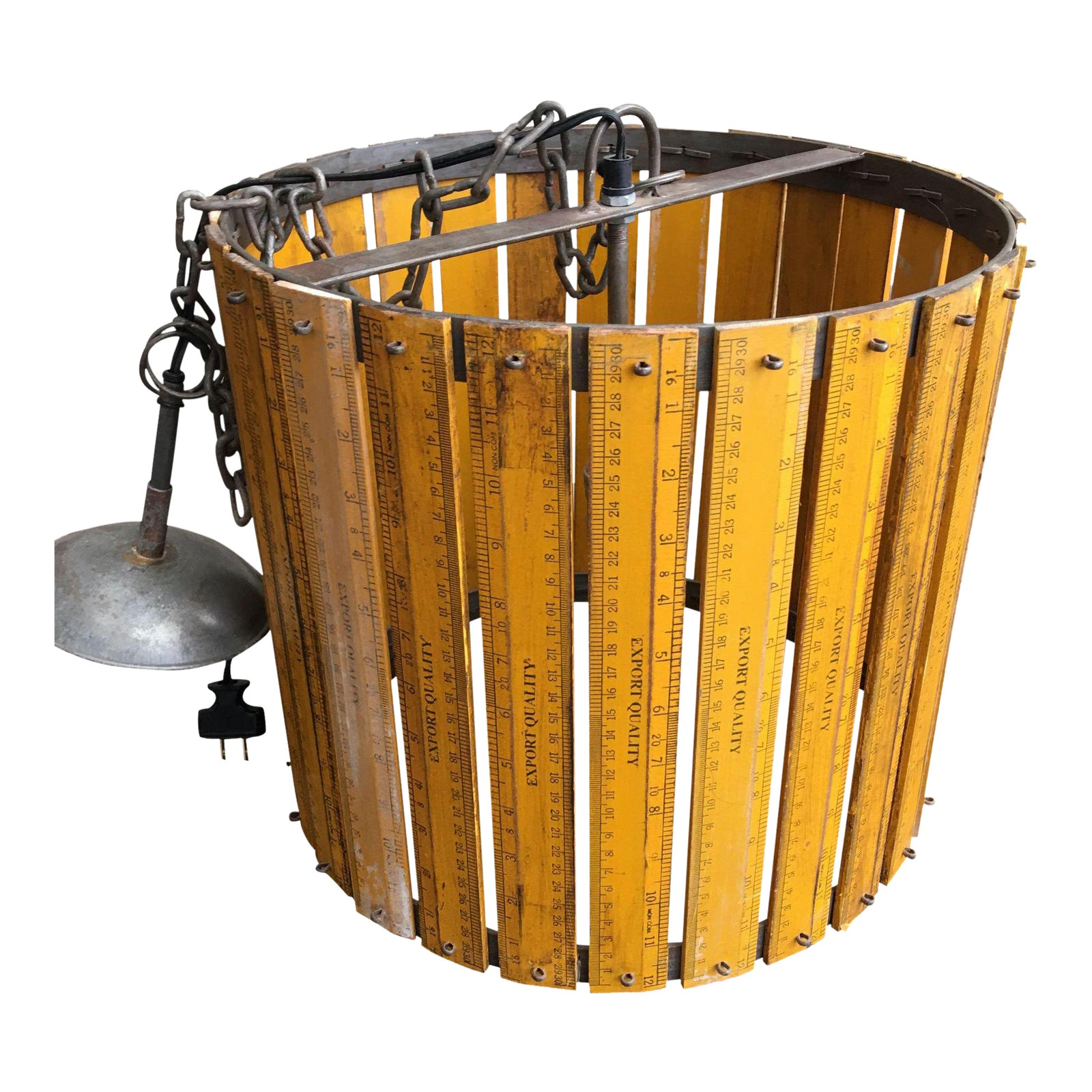 Vintage Industrial Schoolhouse Ruler Drum Light Fixture