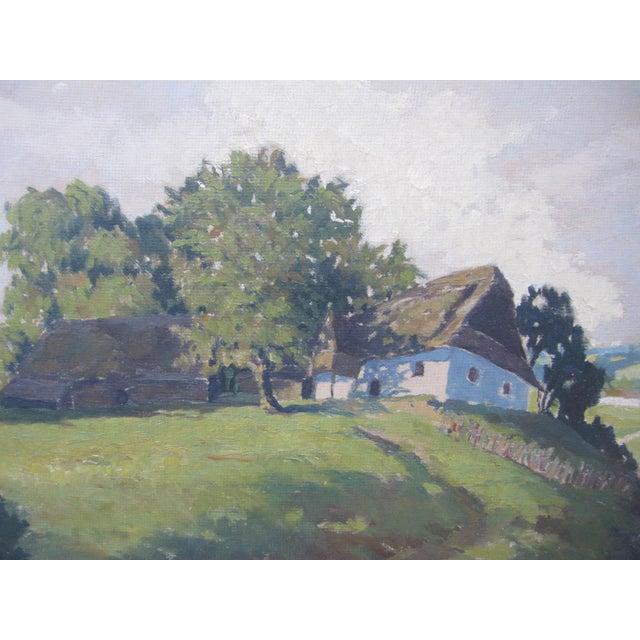 Cottage Jan Honsa Vintage Early 20th Century Czech Republic Landscape Signed Original Oil For Sale - Image 3 of 7