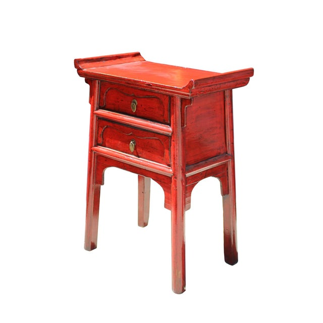 Chinese Distressed Red Point Edge Narrow Slim Foyer Side Table For Sale - Image 4 of 7
