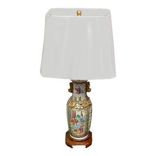 Single Rose Medallion Porcelain Lamp For Sale