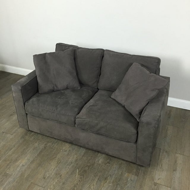 Room & Board Charcoal Suede Loveseat - Image 3 of 11