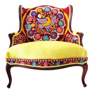 Early 20th Century Suzani Embroidery & Gold Velvet Bohemian Wooden Wingback Armchair