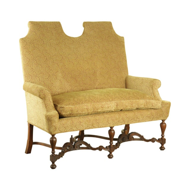 Jacobean Style Antique Walnut Base Upholstered Settee For Sale - Image 12 of 12