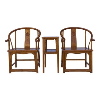 Chinese Handmade Light Brown Horseshoe Armchair Table 3 Pieces Set For Sale