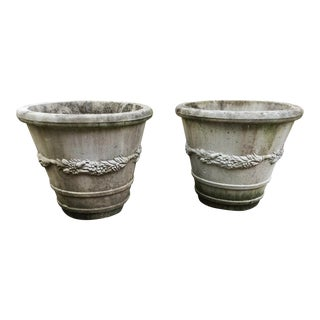 1960s Cast Cement Classical Planters - a Pair For Sale