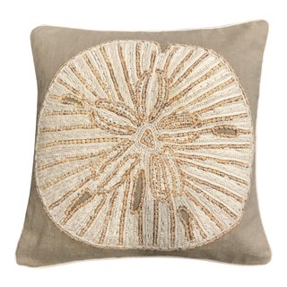 Williams Sonoma Beaded Sand Dollar Linen Pillow
