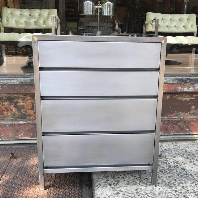Mid-Century, machine age, industrial, brushed steel dresser by Superior Sleeprite Corp, Chicago, IL features four...