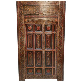 1970s Vintage Multi-Color Moroccan Wooden Door For Sale