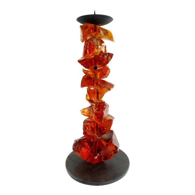 Murano Amber Glass Candlestick - Image 1 of 7