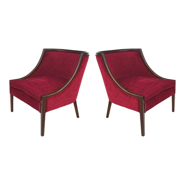 the Furniture Shop Mid-Century Modern Mahogany Club Chairs - a Pair