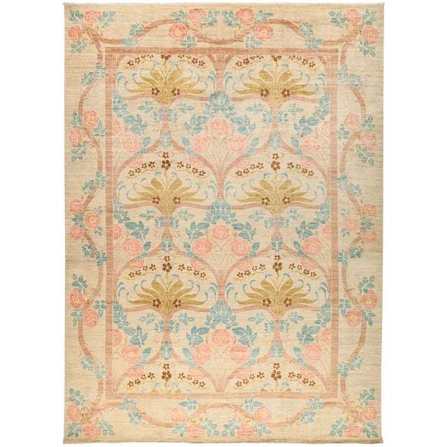 """New Arts & Crafts Hand-Knotted Rug - 9'10"""" X 13'5"""" - Image 1 of 3"""