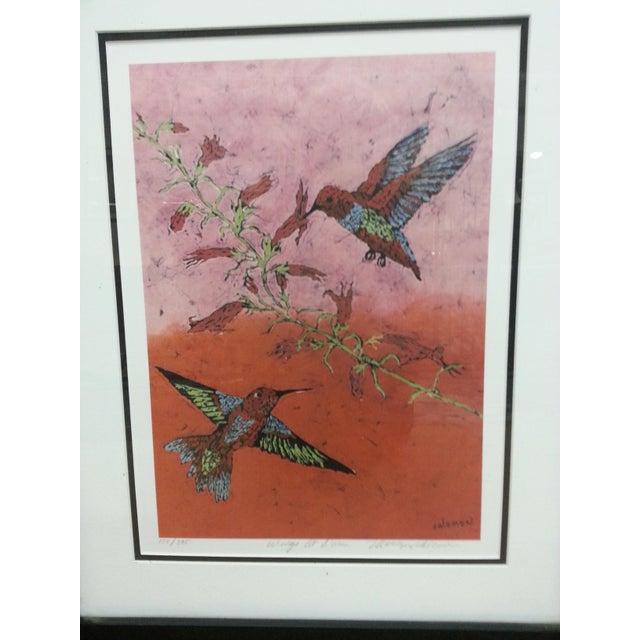 """Marilyn Salomon """"Wings at Dawn"""" Original Batik Print For Sale - Image 7 of 8"""