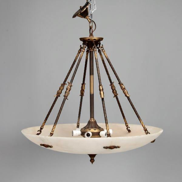 Art Nouveau Large Italian Alabaster Neoclassical Style Fixture with Bronze Chain and Fittings For Sale - Image 3 of 11