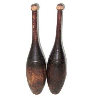 1930s Vintage Wooden Exercise Clubs - Pair For Sale