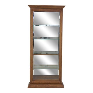 1990s Mid-Century Modern Tall Narrow Side Doors Beveled Glass Oak Curio Display Cabinet For Sale