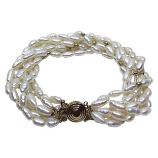 14k Gold & Pearl Bracelet For Sale