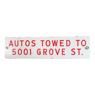 Vintage Towing Street Sign For Sale
