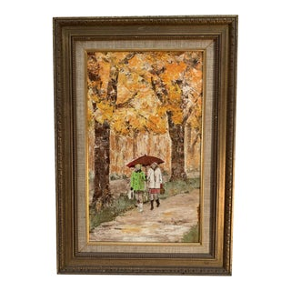 Vintage Mid-Century Oil on Board Painting For Sale