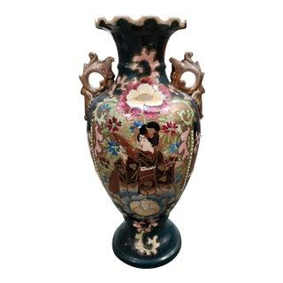 C. 1920 Japanese Satsuma Porcelain Moriage Geisha/Floral Motifs Baluster Vase For Sale