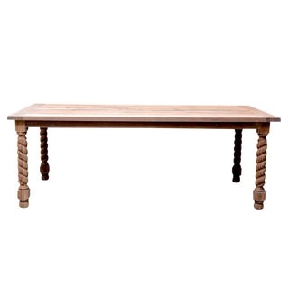 Parson Style Twist Teak Dining Table For Sale
