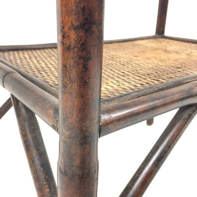 Boho Chic 1960s Boho Chic Rattan Side Table With Flip-Down Shelf For Sale - Image 3 of 5