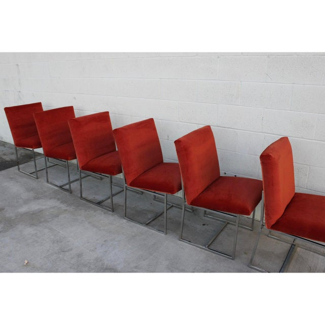Orange Mid Century Modern Milo Baughman for Thayer Coggin Rust Persimmon Dining Chairs-Set of 6 For Sale - Image 8 of 10