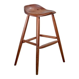 Hugh Davies Walnut Studio Crafted Bar Stool, Usa, 1970s For Sale