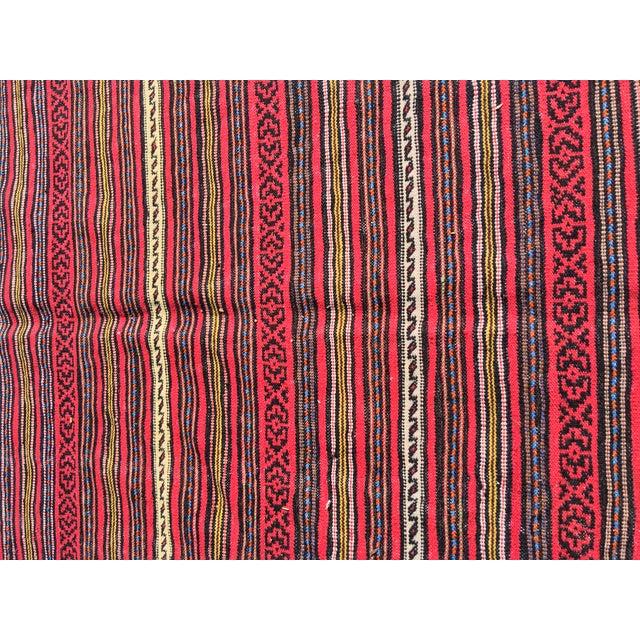 "Afghani Kilim Flat Weave Rug - 5'10"" x 9'5"" - Image 7 of 7"