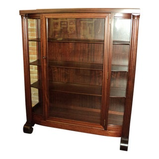 Antique Mahogany Empire China Display Cabinet For Sale