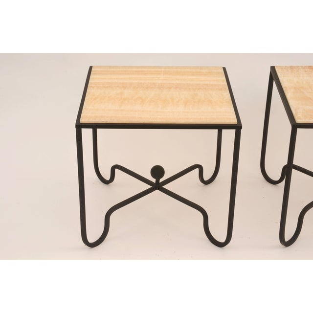 "DESIGN FRERES Contemporary ""Entretoise"" Design Frères Wrought Iron and Onyx Side Tables - a Pair For Sale - Image 4 of 8"