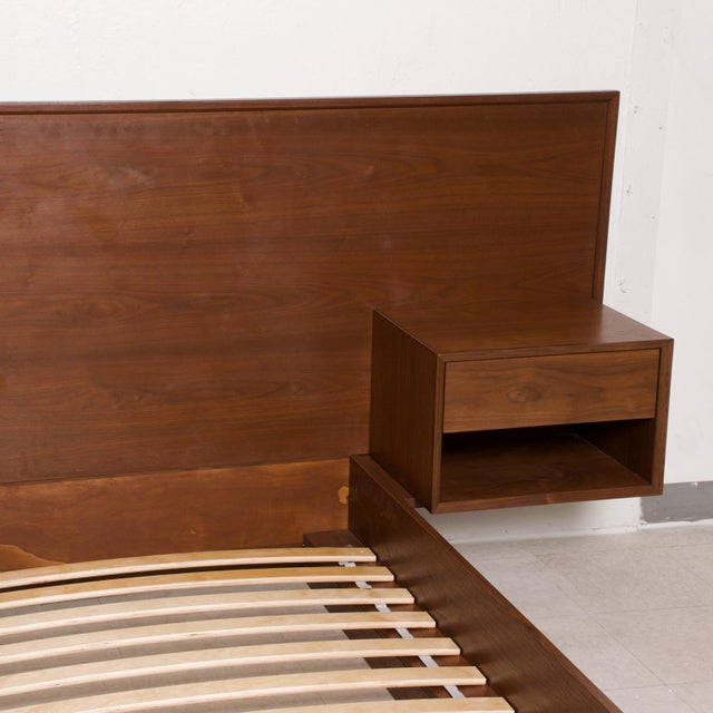 Modern Walnut King Size Platform Bed With Floating Nightstands For Sale In San Diego - Image 6 of 11