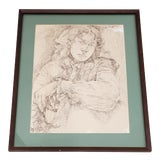 Image of Vintage Pen and Ink Portrait of a Young Man For Sale