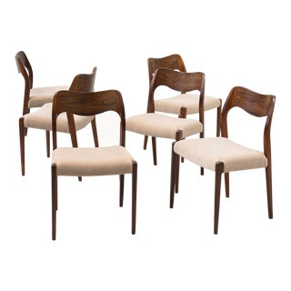 Set of Six Rosewood Dining Chairs Model 71 by Niels Moller, Denmark 1960s
