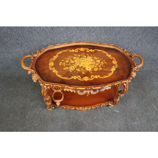 Late 20th Century Italian Style Carved and Inlaid Bar Cart For Sale - Image 5 of 9