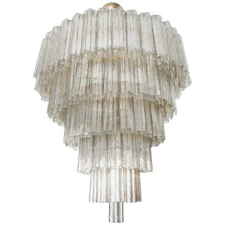 Tiered Smoked Glass Murano Chandelier For Sale