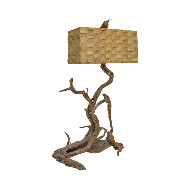 Mid century large driftwood floor lamp with sabutan dornbush woven mid century large driftwood floor lamp with sabutan dornbush woven shade aloadofball Image collections