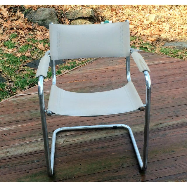 Vintage Mart Stam Breuer Style Tubular Chrome & Gray Leather Chair - Image 7 of 11