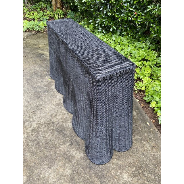 Metal Natural Rattan Trompe l'Oeil Console Tables in Black For Sale - Image 7 of 13