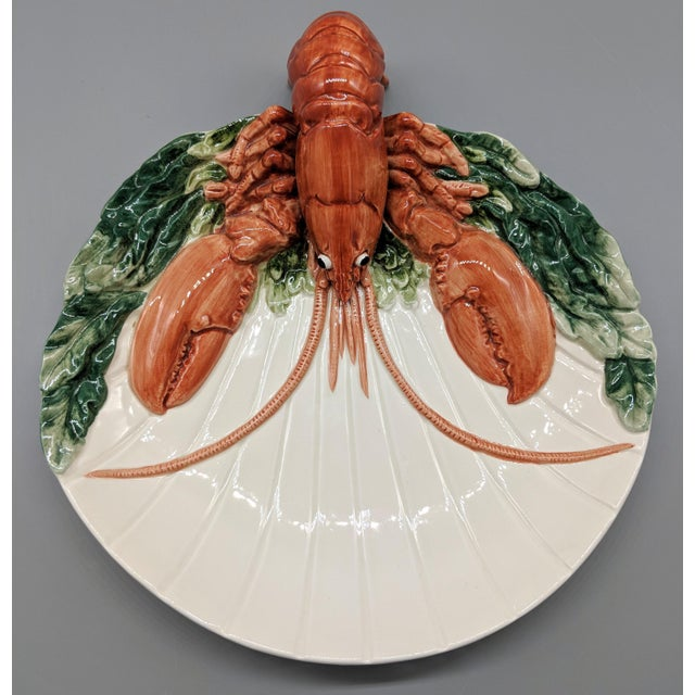 Fitz and Floyd Late 20th Century Fitz and Floyd Trompe l'Oeil Lobster Seafood Plates - a Pair For Sale - Image 4 of 11