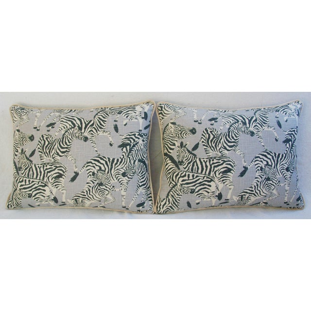 "African Custom Safari Zebra Linen/Velvet Feather & Down Pillows 24"" x 18"" - Pair For Sale - Image 3 of 11"