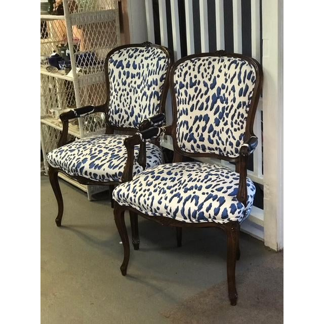 1940s Blue Leopard Bergere Chairs - a Pair For Sale - Image 5 of 5