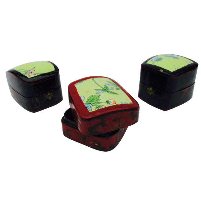 Asian Lacquer Porcelain Boxes - Set of 3 - Image 1 of 10