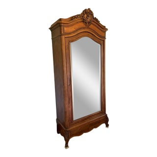 Antique Armoire With Beveled Mirror and Herringbone Pattern For Sale
